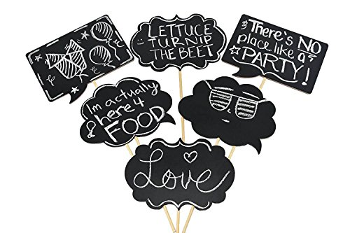Chalkboard Sign Photo Booth Props - Large, Wooden, 6 pc set, Black, Party Prop, Custom, Personalized, Adult, Great For a Wedding, Luau, Birthday, Bachelorette, Retirement, or Graduation Event