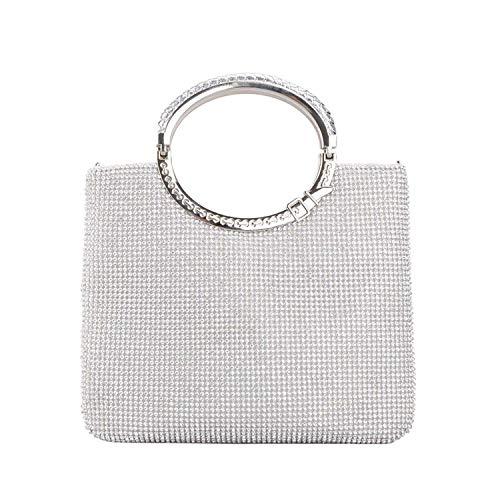 SUKUTU Womens Fashion Crystal Rhinestone Evening Clutches Bags,Ladies Wedding Purse with Bow Frame