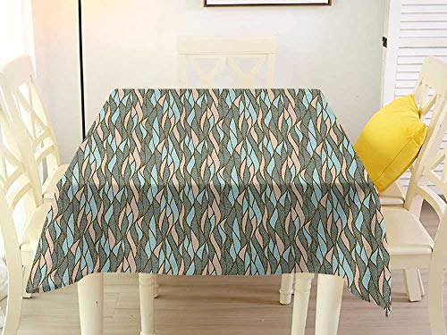 L'sWOW Square Tablecloth Western Abstract Vertical Waves with Stripes and Ornamental Dotted Effect Pastel Colored Simple Multicolor Plaid 36 x 36 Inch