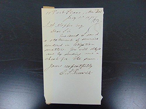"""Reaping Machine Inventor"" Edward S. Renwick Hand Written Letter Mueller COA from Unknown"