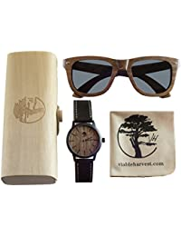 Viable Harvest Men's Wood Walnut Watch with Matching Real...