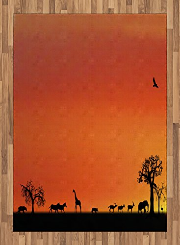 Africa Area Rug by Ambesonne, Panorama of Safari Animals Gulls Reflections in Background at Sunset Scenery, Flat Woven Accent Rug for Living Room Bedroom Dining Room, 5.2 x 7.5 FT, Burnt Orange Black by Ambesonne