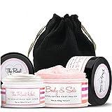 Foot Scrub & Foot Cream Set - Natural Foot Cream for Women - Himalayan Salt Scrub