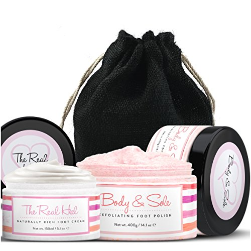 Foot Scrub & Foot Cream Set - Natural Foot Cream for Women -