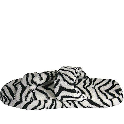 DAWGS Womens Fluffy Z Slippers Flat Zebra co5ioK