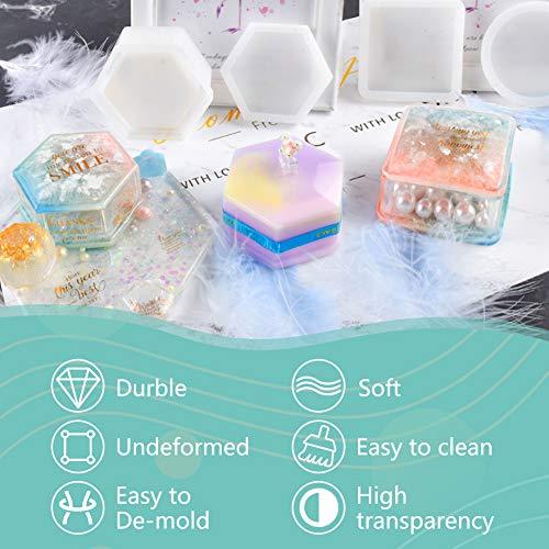 Koogel Box Molds Set,3Pcs Resin Molds Silicone Resin Casting Molds Silicone Ashtray Mold for Making Resin Molds