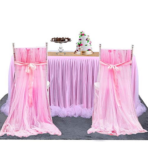 2PCS Pink Tulle Chair Skirts - High Tutu Chair Covers for Wedding Bridal Shower Birthday Party Kitchen Dining Catering Decorations (2 pcs skirts & 2 pcs sashes) ()