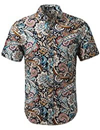 uxcell Men Collared Short Sleeves Floral Slim Fit Shirt