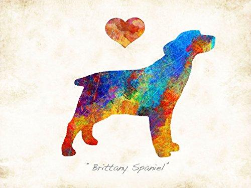 Water Spaniel Dog Art (Brittany Spaniel Dog Breed Watercolor Art Print by Dan Morris)