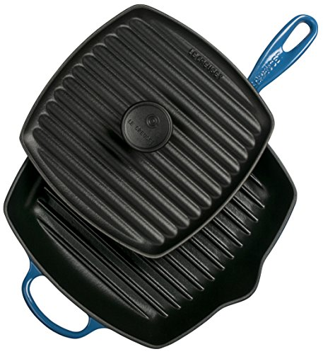 Le Creuset Cast Iron Panini Press and Signature Square Skillet Grill Set, 10 1/4
