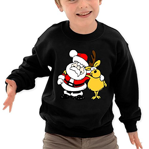 Puppylol Santa And Moose Kids Classic Crew-neck Pullover Hoodie Black 4 Toddler