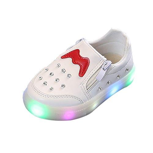 BBestseller Zapatos Niños Luces de Diamantes de imitación Luminoso LED Suave Cremallera Doble Terciopelo Botas Zapatillas Sport Boots con Luces: Amazon.es: ...