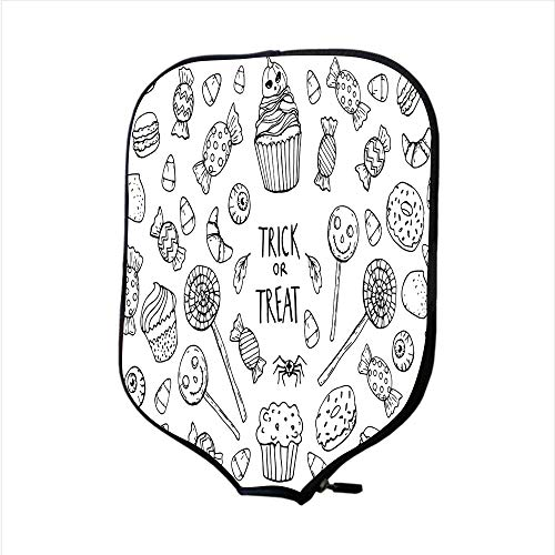 SoSung Neoprene Pickleball Paddle Racket Cover Case/Coloring Page with Sweets Halloween/Fit for Most Rackets - Protect Your Paddle -