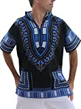 Full Funk Dashiki Light Hoody in Black Base Colors Festival Party Shirt Short Sleeve, X-Small, Black - Blue