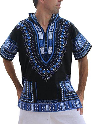 Full Funk Dashiki Light Hoody in Black Base Colors Festival Party Shirt Short Sleeve, X-Small, Black - Blue by Full Funk