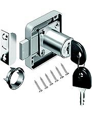 VOLGA kastslot meubelslot cilinder-meubelslot schroefslot met sleutel set voor laden en kasten | staal vernikkeld | doornmaat: 22 mm 26 mm 32 mm