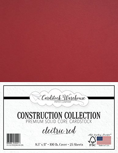 Electric RED Cardstock Paper - 8.5 x 11 inch Premium 100 LB. Cover - 25 Sheets from Cardstock Warehouse