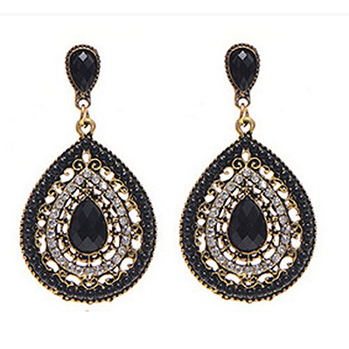 Voberry Women's Retro Bohemia Teardrop Crystal Drop Dangle Earrings ()