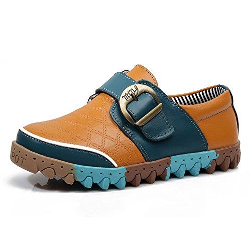 Oderola Jungen Leder Casual Schuhe Kinder Bootsschuhe Schlupf Schuhe Weichen Sohlen Sneakers