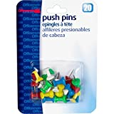 Officemate International Corp. 92600 Pushpins, Plastic, Assorted Colors, Head 1/2'' L