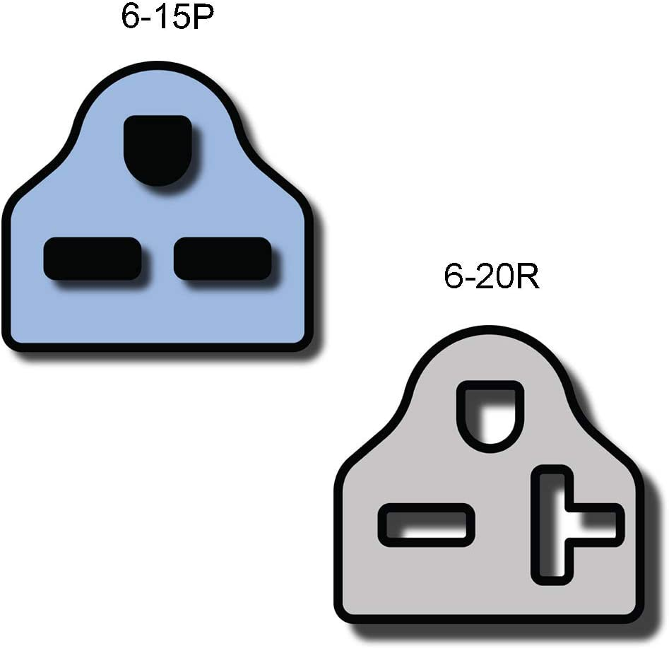 1 Foot Iron Box IBX-5857-01 14 AWG 15A//250V NEMA 6-15P to 6-20R Plug Adapter