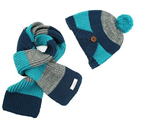 Ewandastore Winter Warm Kids Baby Boys Girls Beanie Stripe Knit Wool Hat with Scarf Set(Navy Blue) Blue Stripe Wool Hat