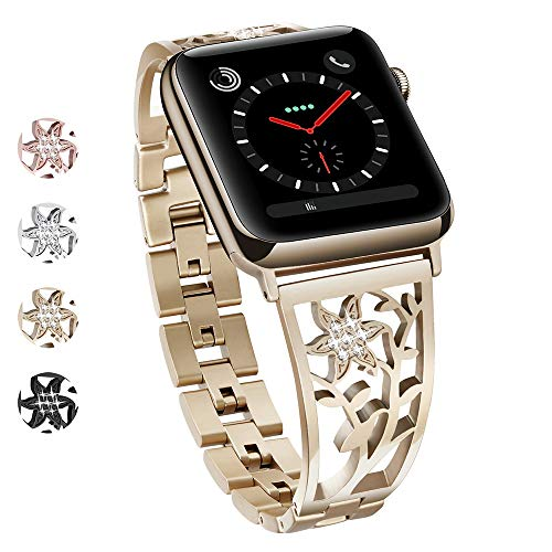 oceBeec Compatible with Apple Watch Band 38mm 40mm 42mm 44mm, Stainless Steel Carved Flower Bling Bracelet Bangle Wristband Dress Up for iWatch Band Series 4, Series 3, Series 2, Series 1