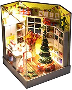 BONJIU Wooden DIY Miniature Dollhouse Kit Furniture LED House Decorate Creative Christmas -Perfect Halloween Christmas Birthday Gifts for Boys and Girls