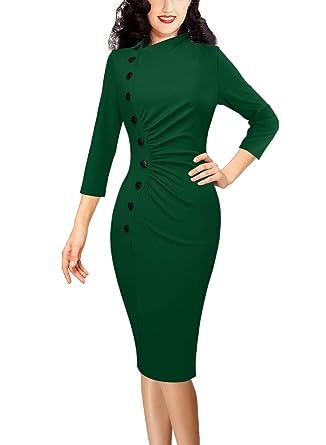 d4c29429e2c VFSHOW Womens Vintage Retro Ruched Buttons Work Business Party Pencil Dress  1361 GRN XS