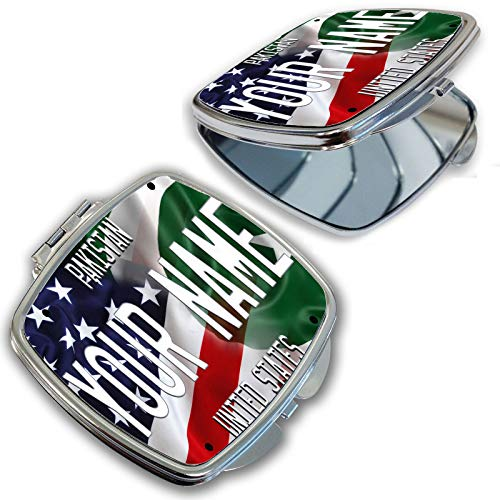 BRGiftShop Customize Your Own Mixed USA and Pakistan Flag Compact Pocket Cosmetic -