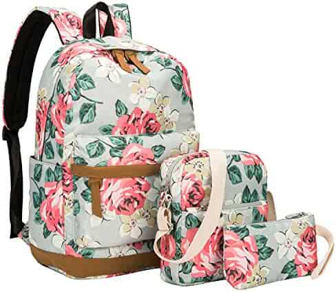 BLUBOON Canvas Bookbags School Backpack Laptop Schoolbag for Teens Girls  High School a7d354844fc4b