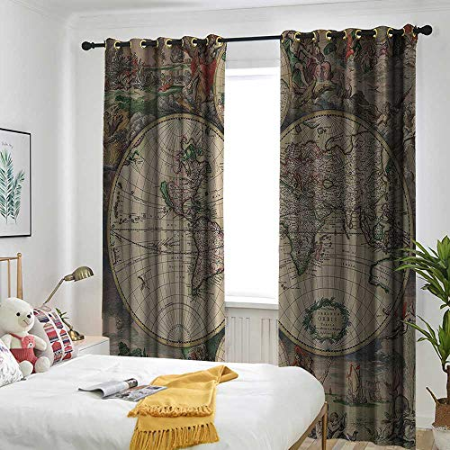 (Old World Map Curtains for Living Room Globe Antique Ancient Antiqued Look Treasure Map Ocean Continents Journeys Voyager Vintage Curtains for Living Room 84