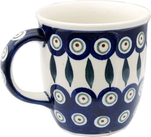 Polish Pottery Mug 12 Oz. From Zaklady Ceramiczne Boleslawiec #1105-56 Peacock Pattern, Capacity: 12 Oz.