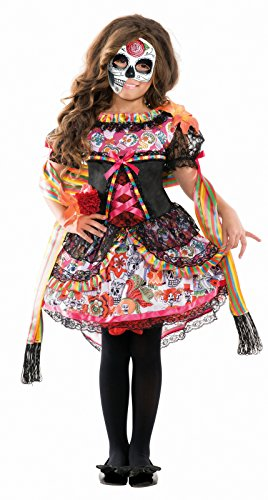 Girl's Child Day of the Dead Sugar Skull Costume Dress (Medium (8-10)) (Red Skull Costume)