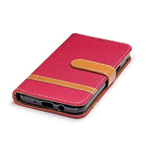 Para Samsung Galaxy J3 funda, (Vaquero rojo) Dril de algodón de colores mezclados caja del teléfono móvil de cuero PU Leather cubierta Función de Soporte Billetera con Tapa para Tarjetas correa de man Vaquero rojo