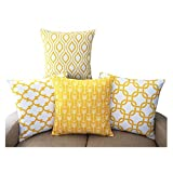 YouLoveHome Durable Cotton Linen Square Decorative Throw Cushion Covers Home Decorative Pillowcases 18 x 18 inch Set of 4 -Series (Yellow)