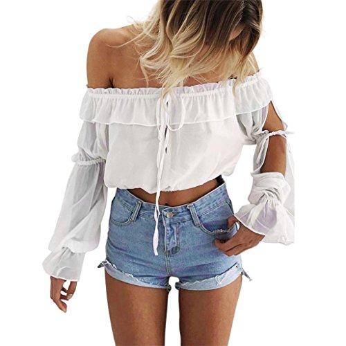 Off Shoulder Blouse, Amlaiworld Femmes Dessus de récolte Shouder Volants courts Blouse en mousseline de soie T-shirtC Blanc