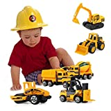 Mini Construction Toys Sets, Hamkaw 1:64 Scale Metal Dump Truck Tractors Forklift Bulldozer Road Roller Digger Excavator Diecast Cars Backhoe Toy for Boys, Push and Go Vehicles Early Education