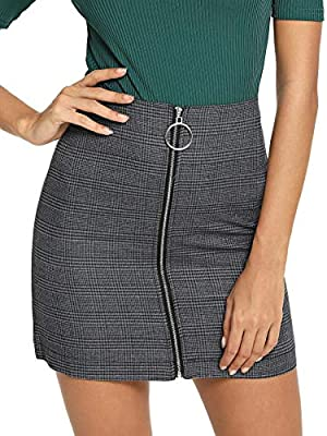 WDIRARA Women's Casual Plaid Print Mid Waist Zip Up Front Above Knee Short Skirt