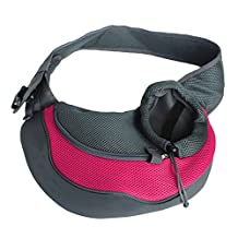 Elisona-Small Pet Cat Dog Puppy Outdoor Traveling Front Carrier Bag Sling Mesh Breathable Single Shoulder Bag for Pet Less Than 4.5kg Rose Red