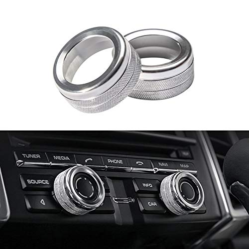(Thor-Ind Aluminum Centre Console Sound Volume Knob Cover for Porsche Panamera Cayenne Macan Boxster Cayman 911 718 Car Interior Multimedia Volume Knob Decorative Ring Cover Trim (Volume Knob-Silver))