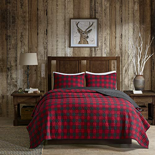 Woolrich Check Quilt Mini Set Cal King Red, King King (Quilt Set Christmas Cover)