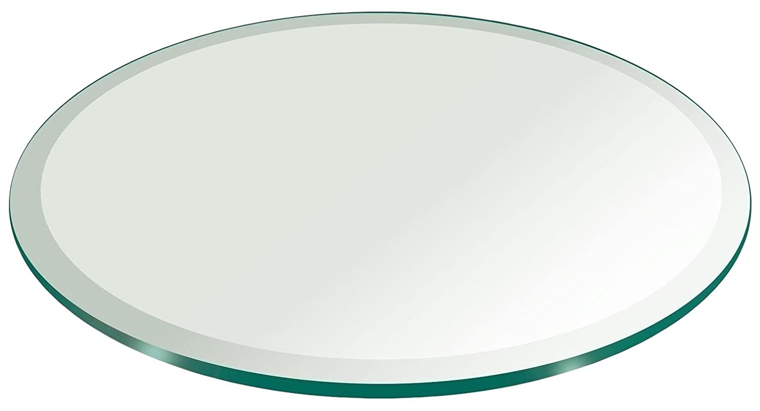 12 Inch Round Glass Table Top 1/2 Thick Tempered Beveled Edge by Fab Glass and Mirror 12RT12THBEAN