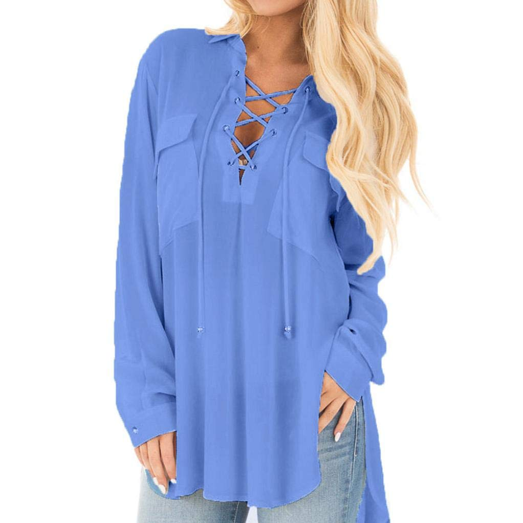 Orangeskycn Clearance Sale Womens Deep V Neck Long Sleeve Shirt Loose Chiffon Tops