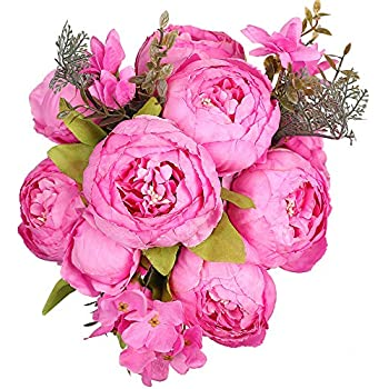 Luyue Vintage Artificial Peony Silk Flowers Bouquet Home Wedding Decoration (Rose Red)