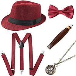BABEYOND 1920s Mens Gatsby Costume Accessories Set 30s Panama Hat Elastic Y-Back Suspender Pre Tied Bow Tie Pocket Watch and Plastic Cigar (Red Set