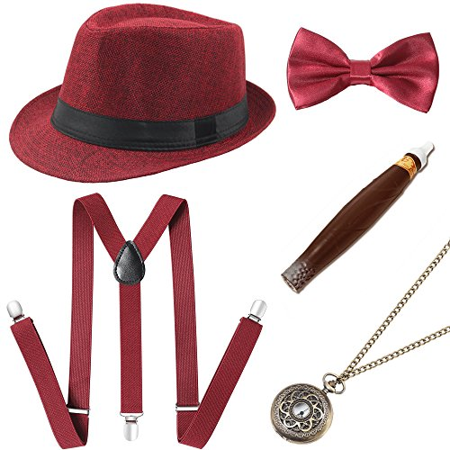 (BABEYOND 1920s Mens Gatsby Costume Accessories Set 30s Panama Hat Elastic Y-Back Suspender Pre Tied Bow Tie Pocket Watch and Plastic Cigar (Red)