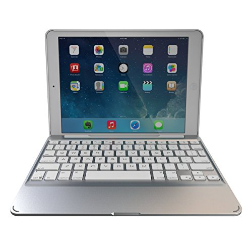 Fitting Blue Netbook - ZAGG Slim Book Ultrathin Case, Hinged with Detachable Backlit Bluetooth Keyboard for iPad Mini 2 / iPad mini 3 - White