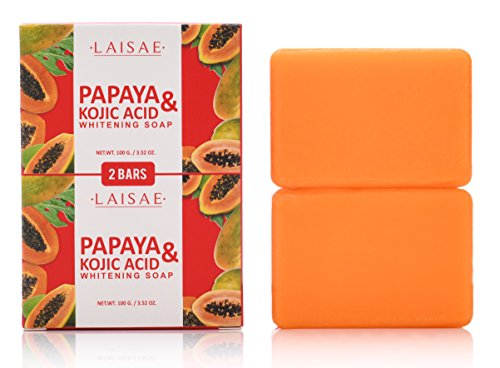 Papaya & Kojic Acid Whitening Soap (2 Bars/3.52 Oz) - Natural Brightening Formula For Face & Body, Cell Renewal And Nourishment For Firm, Youthful Complexion, Even Skin Tone & Dark (Papaya Soap Whitening)