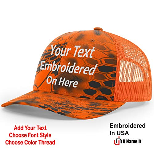 Custom Richardson 112 Hat with Your Text Embroidered Trucker Mesh Snapback Cap (Adjustable Snapback Kryptek Camo Colorway, Inferno/Blaze Orange)